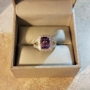 New Zales Sterling Amethyst, White Sapphire Ring 7
